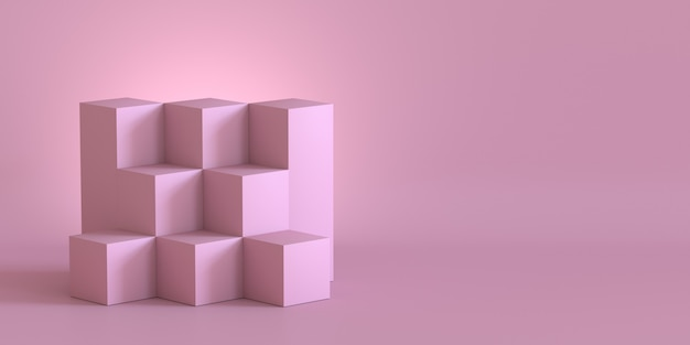 Pink cube boxes with blank wall background. 3d rendering.