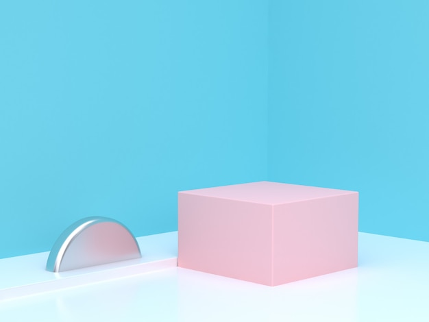 Pink cube podium abstract blue corner scene 3d rendering