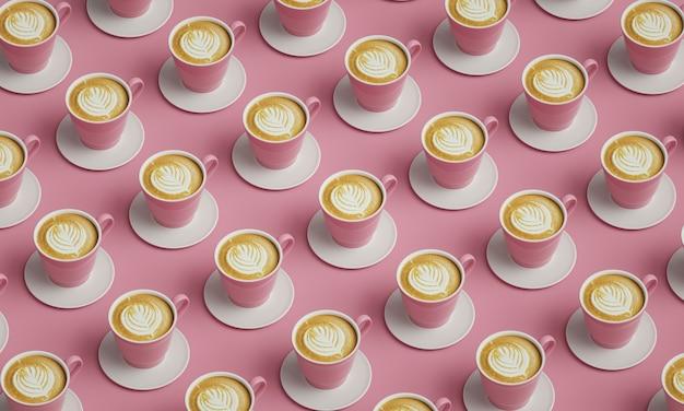 Розовые чашки кофе помещены в стол. картина для украшения кафе.