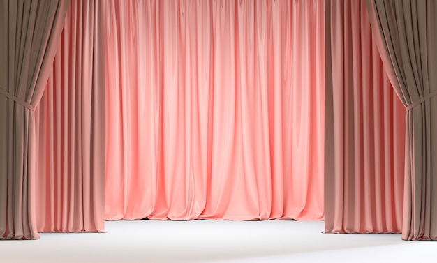 Pink curtains and white floor. 3d render
