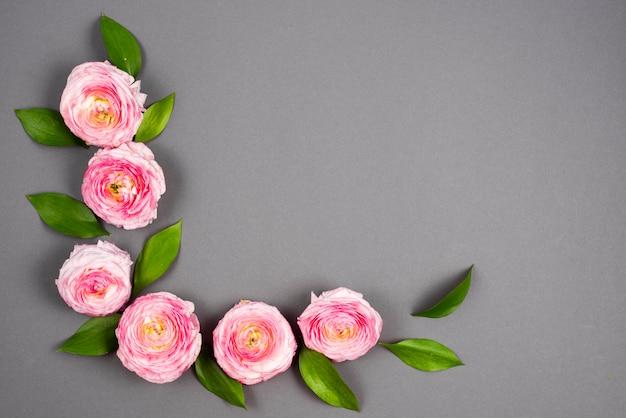 Pink curved volumetric flowers