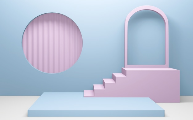 Pink and cyan abstract on podium geometric. 3d rendering