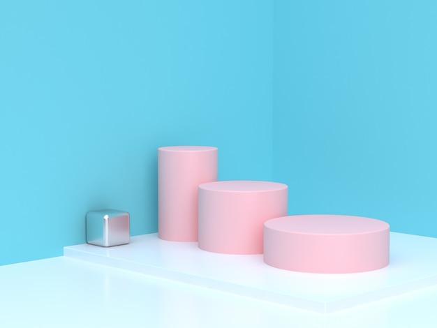 Pink cylinder step abstract blue corner scene cylinder podium 3d rendering