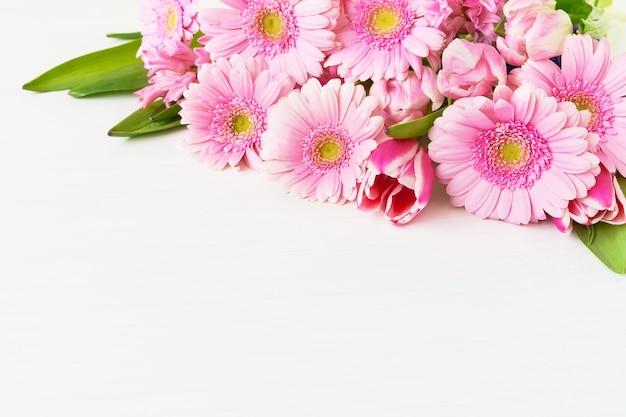 Розовые цветы герберы ромашки на белом фоне праздник фон копией пространства выборочный фокус