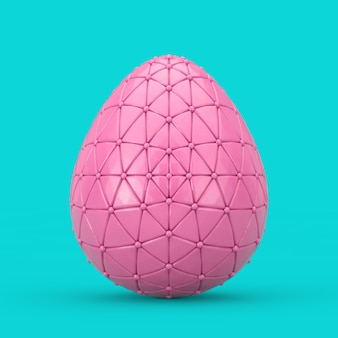 Pink decorated easter egg in duotone style on a blue background. 3d rendering