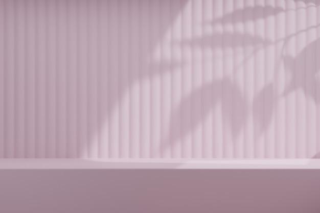 Pink desk wall background with sunlight leaf plant. 3d illustration rendering.
