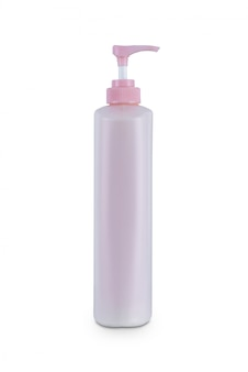 Pink dispenser head pump body plastic bottle cosmetic hygiene conditioner with body moisturising isolated on white