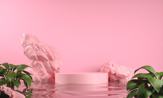 Pink display for show product on water ripple and rock abstract background 3d render