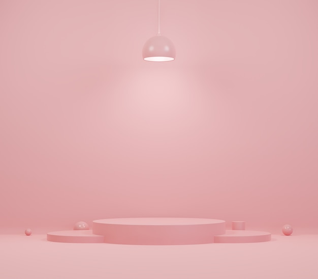 Розовый дисплей подиума макета витрины для презентации косметической продукции
