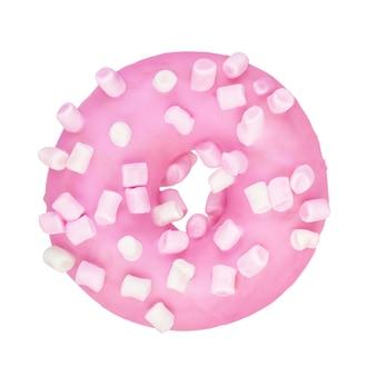 Розовый пончик с посыпкой зефира изолирован