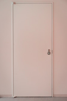 Pink door with frame on pink wall background.