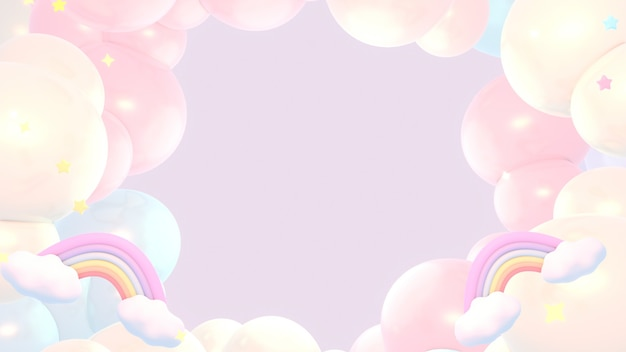 Pink dreamy pastel rainbow clouds and stars sky 3d rendered picture