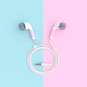 Pink earphone on blue and pink pastel color background