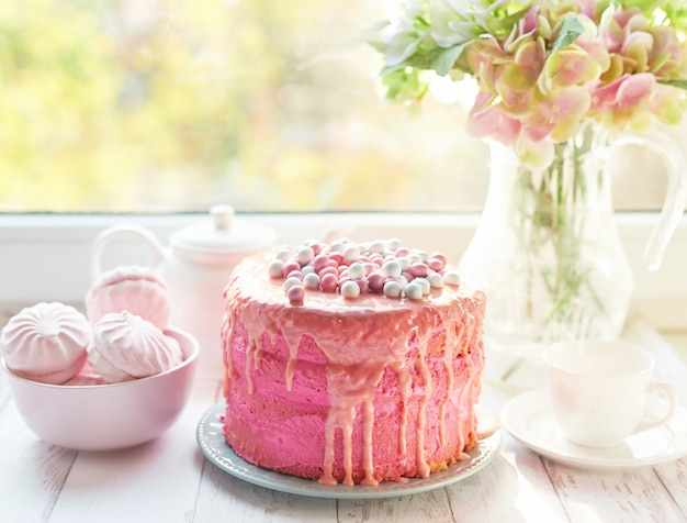 Pink easter cake, a delicious mother's day gift, birthday sweets