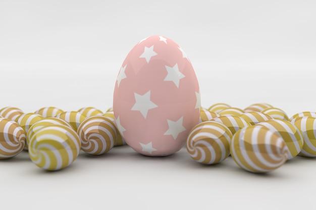 Розовое яйцо со звездой и золотыми яйцами на белом фоне. 3d визуализация