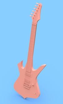青い背景に最小限のスタイルのピンクのエレキギター。 3dレンダリング。