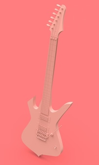 Pink electric guitar in the style of minimal on a pink background. 3d rendering.