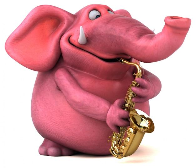 Pink elephant 3d illustration  pachyderm