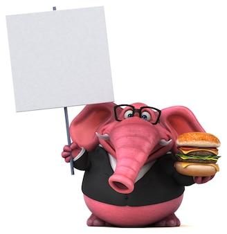 핑크 코끼리 - 3d 일러스트레이션