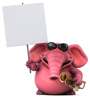 Pink elephant 3d illustration