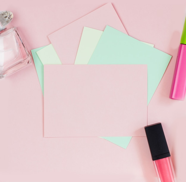 Pink empty card, sheet for writing