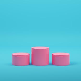 파스텔 색상의 밝은 파란색 배경에 분홍색 빈 원통형 제품이 표시됩니다. 미니멀리즘 개념입니다. 3d 렌더링