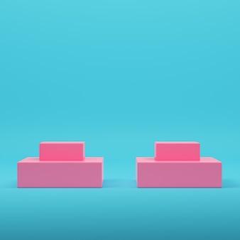 파스텔 색상의 밝은 파란색 배경에 분홍색 빈 제품 디스플레이 스탠드. 미니멀리즘 개념입니다. 3d 렌더링