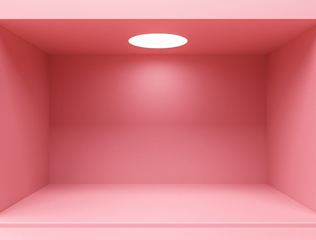 Pink empty room interior design, blank pink display on floor background with minimal style