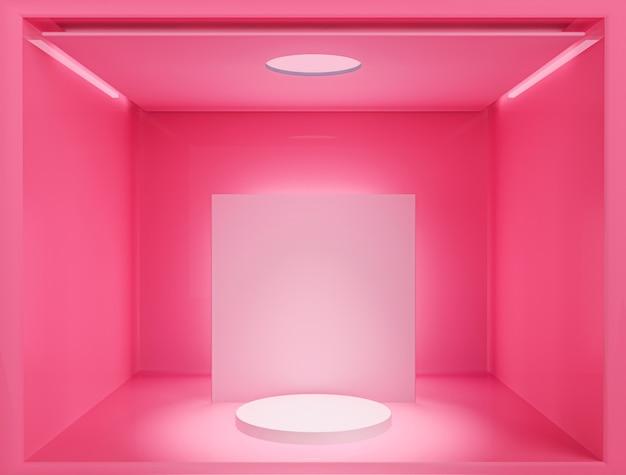 핑크 빈 방 인테리어 디자인, 최소한의 스타일로 바닥에 빈 핑크 디스플레이