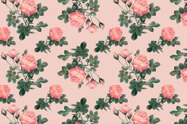 Pink english rose pattern on a crepe pink background