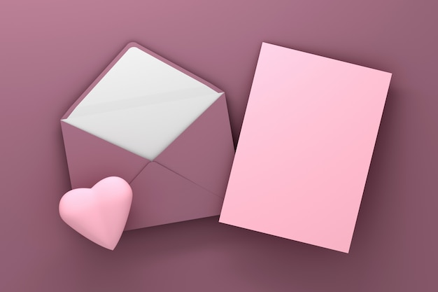 Pink envelope and pink blank card with heart