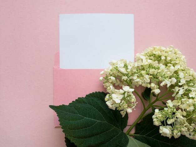 분홍색 배경에 흰색 모형 시트와 옆에 녹색 꽃 수국이 있는 분홍색 봉투