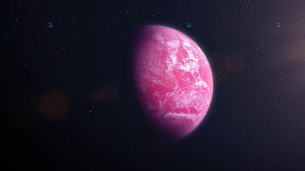 雲とピンクの太陽系外惑星