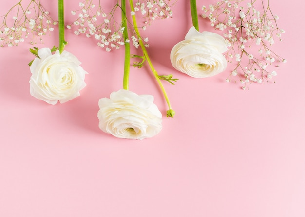 Pink fashion, flowers flat lay background