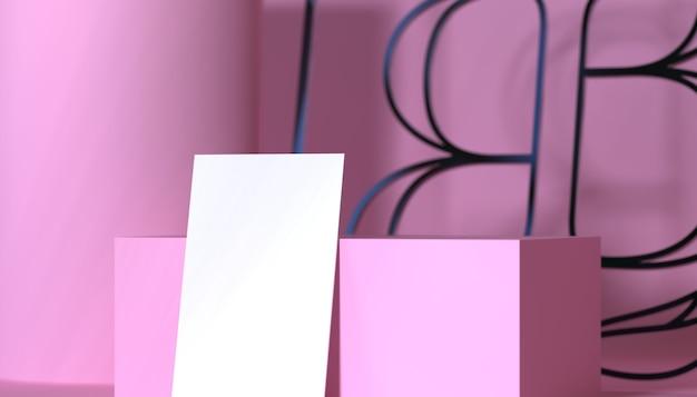 美容業界のためのピンクのファッションモックアップ3dイラストテンプレート