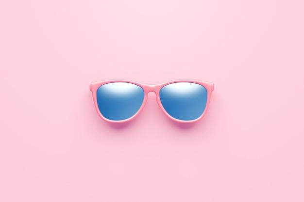 ピンクのファッションサングラスとモダンなアクセサリーデザインの夏のオブジェクトの背景に青いレンズ光学系。 3dレンダリング。