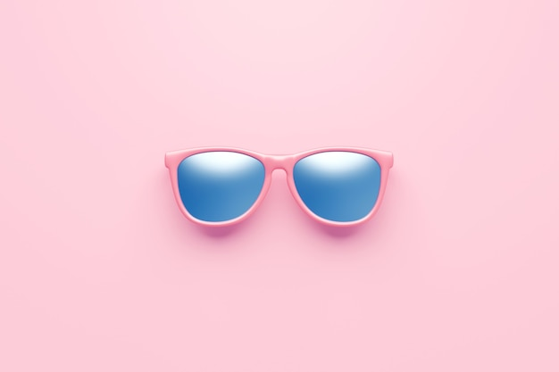 Pink fashion sunglasses and blue lens optic on summer object background with modern accessory design. 3d rendering.