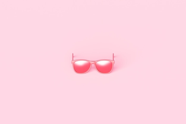 Pink fashion sunglasses and pink lens optic on summer object background with modern accessory design. 3d rendering.