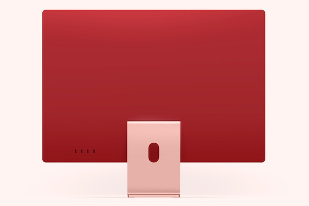 デザインスペースを備えたピンクのフェミニンなコンピューターデスクトップデジタルデバイス