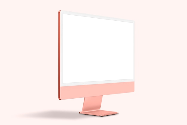 Розовое женское цифровое устройство экрана рабочего стола компьютера с пространством дизайна