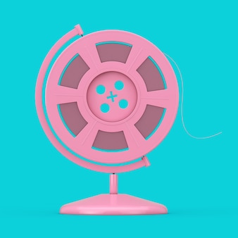 Pink film reel with cinema tape in the shape of earth globe as duotone style on a blue background. 3d rendering