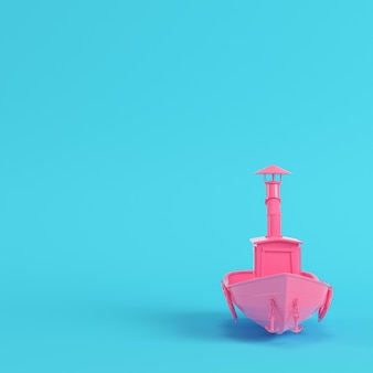 Pink fishing boat on bright blue background