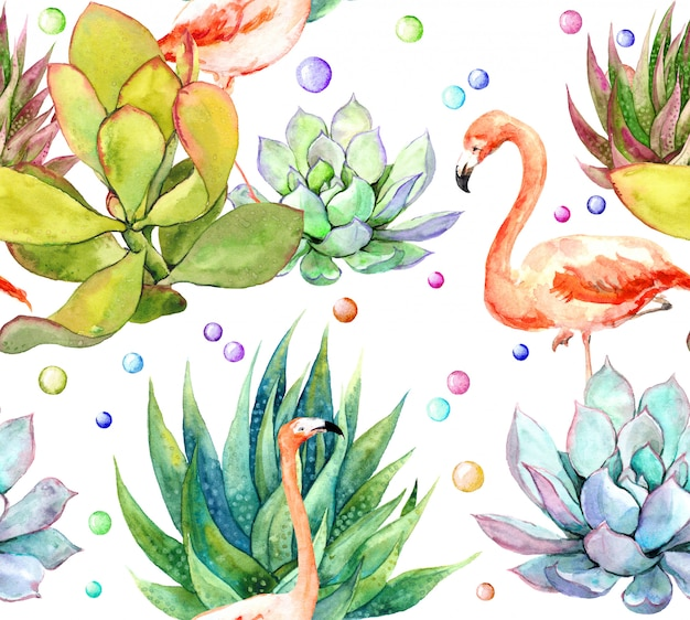 Pink flamingo bird in succulents repeating floral pattern watercolor