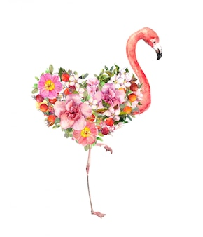 Pink flamingo bird with floral heart. red and pink flowers. watercolor for valentine day