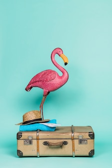 Pink flamingo on travel accessories