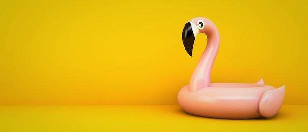 Pink flamingo on yellow background