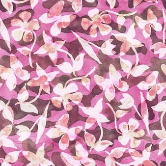 ピンクの花のカモフラージュ抽象的な背景抽象的なカラフルなスポットの花と蝶とシームレスな森のパターン茶色ピンク緑と白の色水彩手描きイラスト