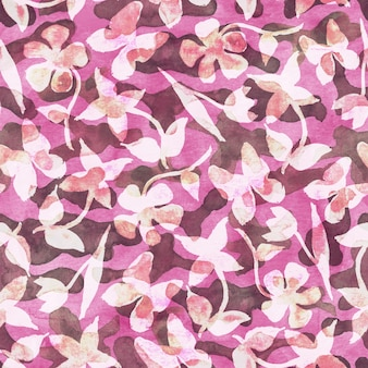 Pink floral camouflage abstract background seamless woodland pattern with abstract colorful spots flowers and butterflies brown pink green and white color watercolor hand drawn illustration