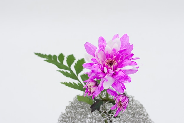 Pink flower bouquet  in vase on white background
