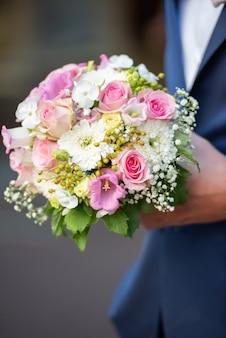 Pink flower rose tulip nosegay wedding floral romance.